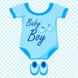 Baby Boy Dress. Vector illustration of baby boy dress against pattern background Stock Photo