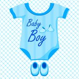 Baby Boy Dress. Vector illustration of baby boy dress against pattern background Royalty Free Stock Image