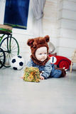 Baby boy dressed as a bear Stock Image