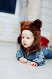 Baby boy dressed as a bear Stock Images