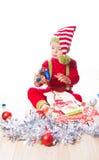Baby boy dressed as elf Royalty Free Stock Photo