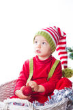 Baby boy dressed as elf Stock Photography
