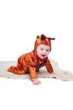 Baby boy dressed as little deer Stock Image