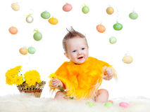 Baby boy dressed in Easter chicken costume Stock Photography