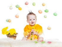 Baby boy dressed in Easter chicken costume Stock Image
