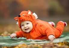 Baby boy dressed in fox costume Stock Image