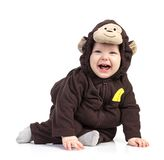 Baby boy dressed in monkey costume over white. Background stock photography