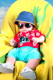 Baby boy dressed in tourist Stock Photos
