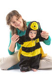 Baby boy dressed up like bee Royalty Free Stock Photo