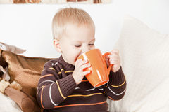 Baby boy drinking from a big jar Royalty Free Stock Photos