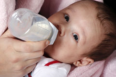 Baby boy drinking milk bottle Stock Photography