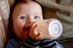 Baby boy drinking milk from a bottle and smiling royalty free stock images