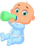 Baby boy drinking milk Stock Images