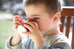 Baby boy drinks, red-white mug, outdoor, natural light Stock Photos