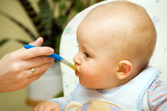 Baby boy eating. Meal with spoon Stock Image