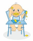 Baby boy eating. Up a highchair. Cartoon on white background Royalty Free Stock Photo