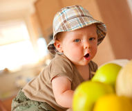 Baby boy eating apple Stock Photography