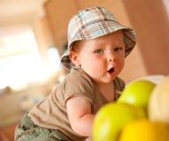 Baby boy eating apple Stock Photography