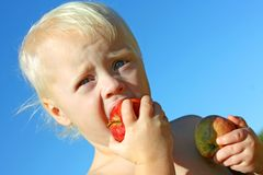Baby Boy Eating Apple Outside Royalty Free Stock Photo