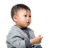 Baby boy eating biscuit Royalty Free Stock Photos