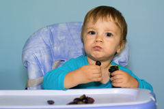 Baby boy eating black grapes Stock Photography