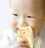 Baby boy eating a bread Stock Photo