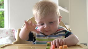Baby Boy Eating Fruit In In High Chair Stock Image