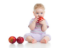 Baby boy eating healthy food royalty free stock photography