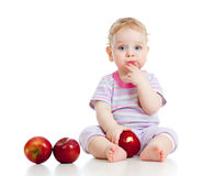 Baby boy eating healthy food royalty free stock photos