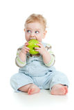 Baby boy eating healthy food stock photography