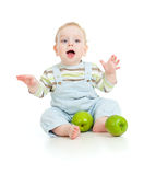 Baby boy eating healthy food Royalty Free Stock Image