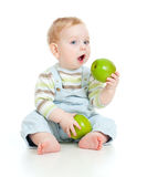 Baby boy eating healthy food royalty free stock images