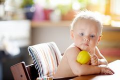 Baby boy eating healthy food Royalty Free Stock Photo