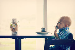 Baby Boy Eating Royalty Free Stock Images