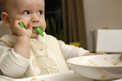Baby boy eats dinner Stock Image