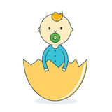Baby boy in eggshell with pacifier. Newborn human male in hatch Royalty Free Stock Photography