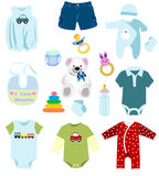 Baby boy elements Stock Photos