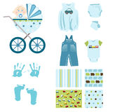Baby boy elements Royalty Free Stock Photography