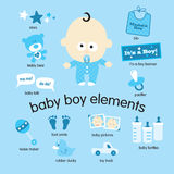 Baby Boy Elements. Illustrations of various baby boy items Stock Photo
