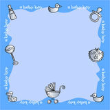 Baby boy elements. Blue baby shower card with baby boy elements Stock Image