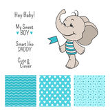 Baby boy elephant blue design with seamless patterns Royalty Free Stock Photo