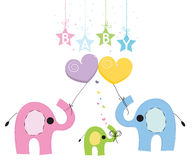 Free Baby Boy Elephant Greeting Card With Colorful Balloons Royalty Free Stock Photos - 47349408