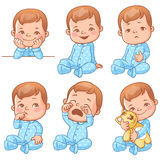 Baby boy emotions set. Set with cute little baby boy in blue pajama with different emotions. Various face expressions. Happy child, crying boy, sick baby, one vector illustration