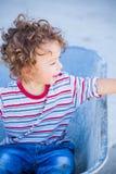 Baby boy exploring outdoor Royalty Free Stock Image