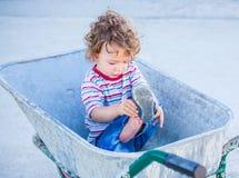 Baby boy exploring outdoor Royalty Free Stock Photography