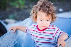 Baby boy exploring outdoor Royalty Free Stock Photos