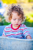 Baby boy exploring outdoor Stock Images