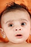 Baby boy face closeup on orange background Stock Image
