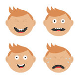 Baby boy face set with different emotions. Royalty Free Stock Photo