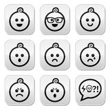 Baby boy faces, avatar  buttons set Royalty Free Stock Photography
